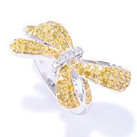 SS CHOICE FANCY COLOR DIAMOND BOW RING