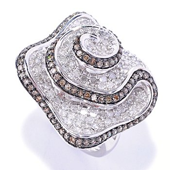 127-608 - Diamond Treasures Sterling Silver 1.85ctw White & Mocha Diamond Flower Ring