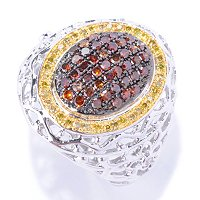 SS PAVE RED WITH YELLOW DIAMOND ACCENTS RING