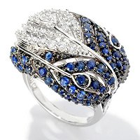 SB SS/PLAT ROUND CUT PEACOCK FEATHER RING
