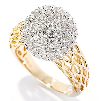 127-617 - Sonia Bitton for Brilliante® Two-tone 2.14 DEW Round Cut Pave Ball Ring