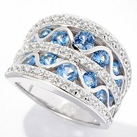 BLTA SS/PLAT BLUE & WHITE ROUND CUT CONCAVE RING