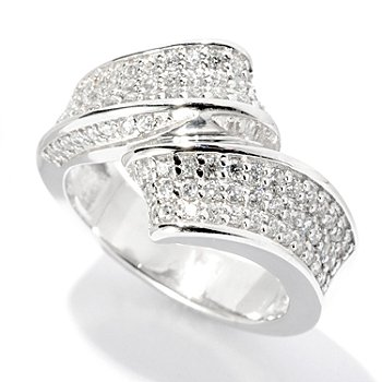 127-622 - Brilliante® Platinum Embraced™ Round Cut Pave Cut Twisted Ring