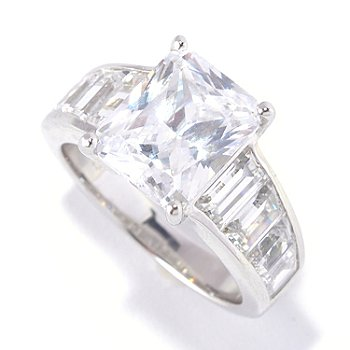 "127-624 - Brilliante® Platinum Embraced™ 6.56 DEW Emerald & Baguette ""Angelina"" Ring"