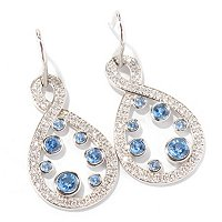 BLTA SS/PLAT ROUND CUT PAVE AND BEZEL SET BLUE FIGURE EIGHT DROP EARRINGS