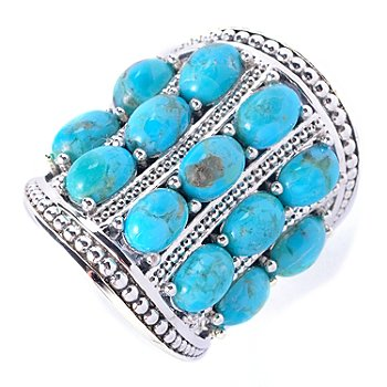 127-627 - Gem Insider Sterling Silver 6 x 4mm Oval Multi Row Turquoise Ring