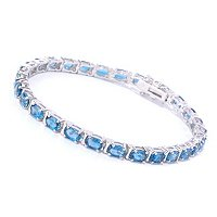SS OVAL TENNIS BRAC LONDON BLUE TOPAZ CHOICE OF SIZE