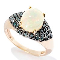 14K YG ETHOPIAN OPAL WITH BLUE DIAMOND RING