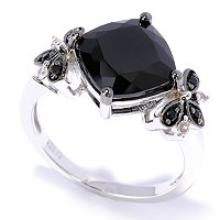 SS PRIN CUT RING BLACK SPINEL