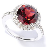 SS ROUND GARNET AND WHITE TOPAZ RING