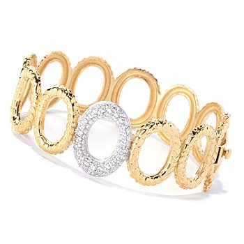127-645 - Sonia Bitton for Brilliante® Two-tone 2.24 DEW Textured Pave Set Hinged Bracelet