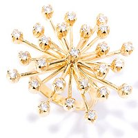 SB SS/14K GP ROUND CUT STAR BURST RING