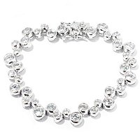 BLTA SS/PLAT ROUND CUT BEZEL SET SCATTERED BUBBLE LINE BRACELET