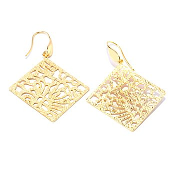 127-659 - Portofino Gold Embraced™ Diamond-Shape Openwork Flower Drop Earrings