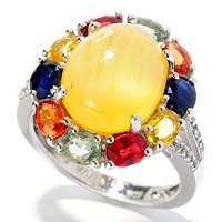 SS BUTTERSCOTCH COLOR ARGONITE AND GEM RING