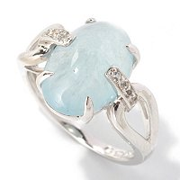 SS SEA BLUE COLOR ARGONITE RING