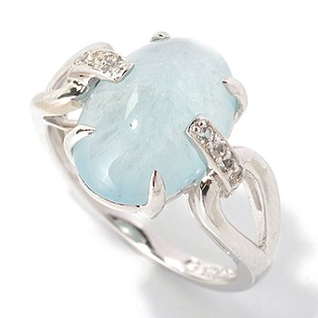 127-669 - Gem Insider Sterling Silver 14 x 10mm Oval Sea Blue Aragonite & White Topaz Ring