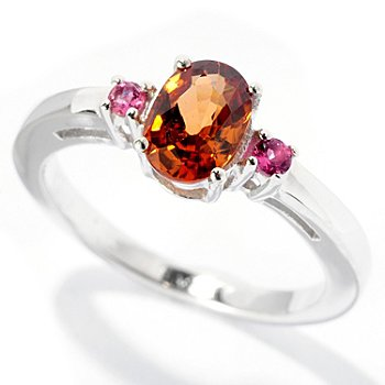 127-673 - Gem Insider Sterling Silver 1.04ctw Brown Zircon & Pink Tourmaline Ring