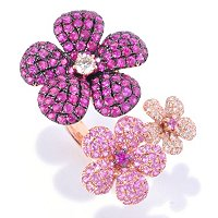 14K RG PAVE GEM AND DIAMOND FLOWER RING