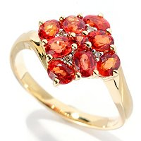 14K YG ORANGE SAPP RING