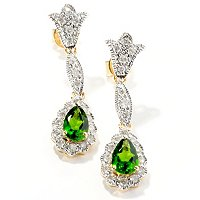 14K YG CHROME AND DIAMOND DROP EARRING