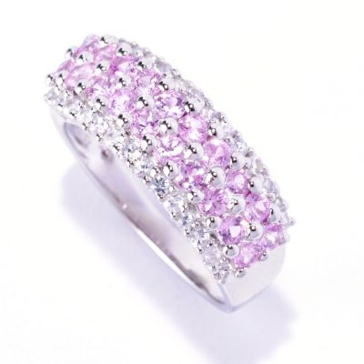 127-684 - Gem Treasures Sterling Silver Fancy & White Sapphire Band Ring