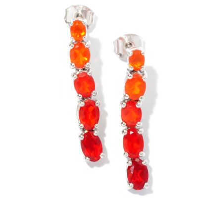 "127-685 - NYC II 1"" 1.74ctw Graduated Fire Opal Line Drop Earrings"