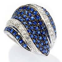 SS PAVE BLUE SAPP WITH WHITE SAPP ACCENTS RING