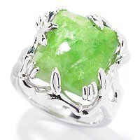 SS REC SHAPE CHROME TREMOLITE RING 14X12