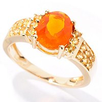 14K YG FIRE OPAL WITH YELLOW SAPP ACCENTS