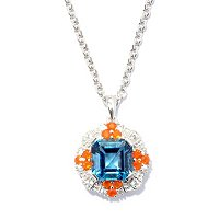 SS CUSHION LONDON BLUE TOPAZ WITH FIRE OPAL AND WHT SAPP ACCENTS PEND WITH CHAIN