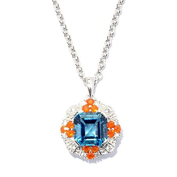 127-711 - Gem Insider Sterling Silver 3.01ctw London Blue Topaz & Multi Gem Pendant w/ Chain