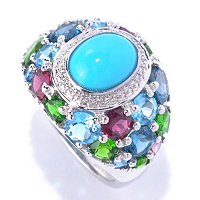 SS OVAL CH TURQ RING WITH MULTI GEMSTONE ACCENTS