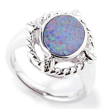 127-716 - Gem Insider Sterling Silver 10 x 8mm Oval Opal Doublet Twisted Ring