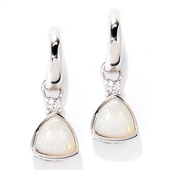 127-717 - Gem Insider Sterling Silver 6mm Opal & White Sapphire Hoop Drop Earrings