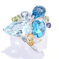 SS MULTI SHAPE AND GEMSTONE RING