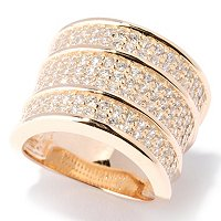 SB SS/CHOICE THREEE ROW PAVE WIDE BAND RING
