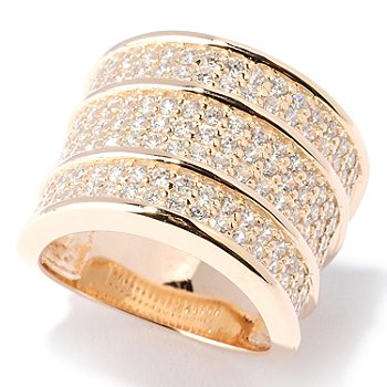 127-727 - Sonia Bitton for Brilliante® Gold Embraced™ 1.79 DEW Three-Row Wide Band Ring