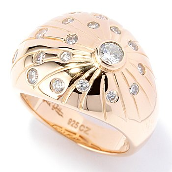 127-729 - Sonia Bitton for Brilliante® Gold Embraced™ Burnished Set Burst Dome Ring