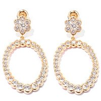 SB SS/CHOICE SEMI BEZEL ROUND CUT FLOWER FORWARD FACING OVAL EARRINGS