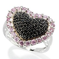 SS PAVE PINK SAPP WITH BLK SPINEL EDGE RING