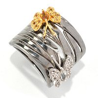 SS/BLK RHOD RING CITRINE & WHITE TOPAZ BUTTERFLY WIDE BAND