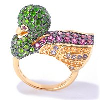 SS/18KV & BLK RHOD RING MULTI GEMSTONE DUCK