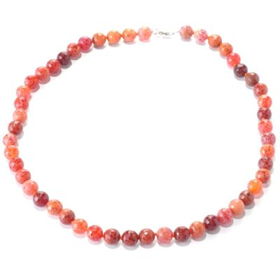 "127-753 - Gem Insider Sterling Silver 26"" Fire Agate Bead Necklace"