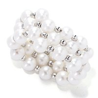 SS 4-5mm WHITE FWP & SILVER BEAD COIL WRAP RING
