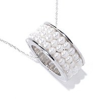 SS 3-4mm WHITE FWP LOVE YOU FOREVER PENDANT w/chain