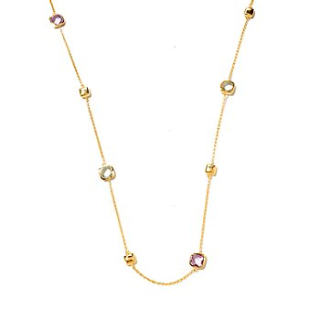 127-763 - Portofino Gold Embraced™ 30'' Purple & Green Amethyst Geometric Station Necklace