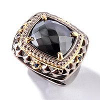 MEN'S - SS/PALL/18KV & BLK RHODIUM RING ROSE-CUT HEMATITE W/ BLUE SAPH
