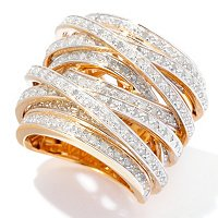 SS/ 18K CHOICE PLATED CRISS CROSS DIAMOND RING