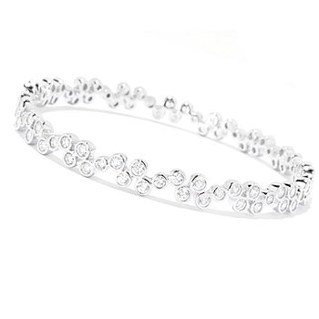 127-767 - Sonia Bitton for Brilliante® Round Bezel Set Bubbles Slip-on Bangle Bracelet